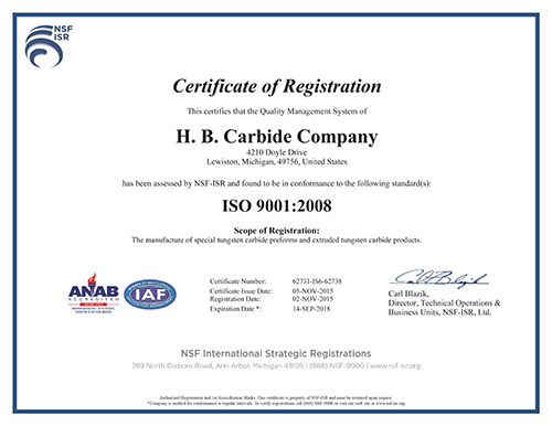 ISO Certification - HB Carbide