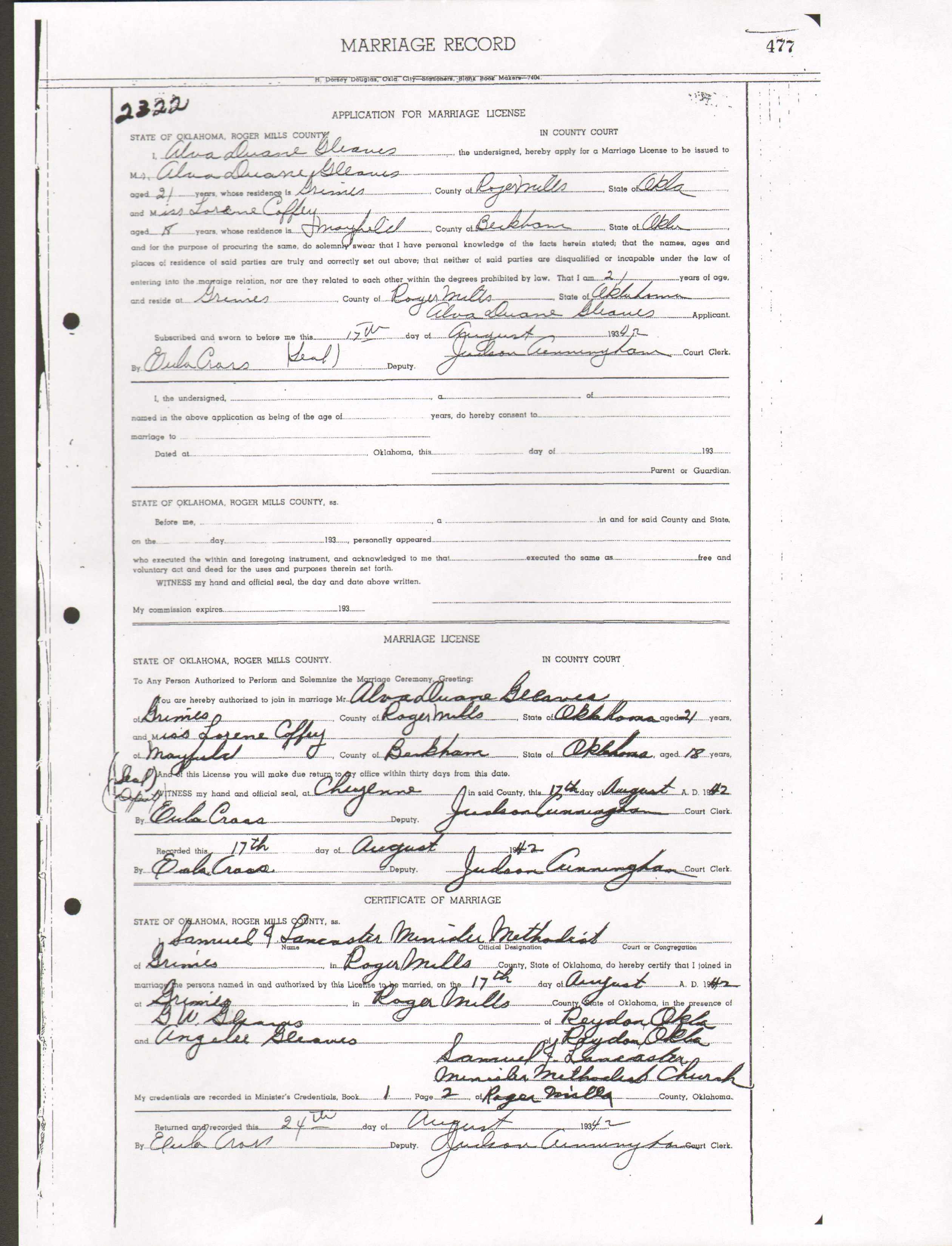 Marriage certificates gleaves family marriage certificates aiddatafo Gallery