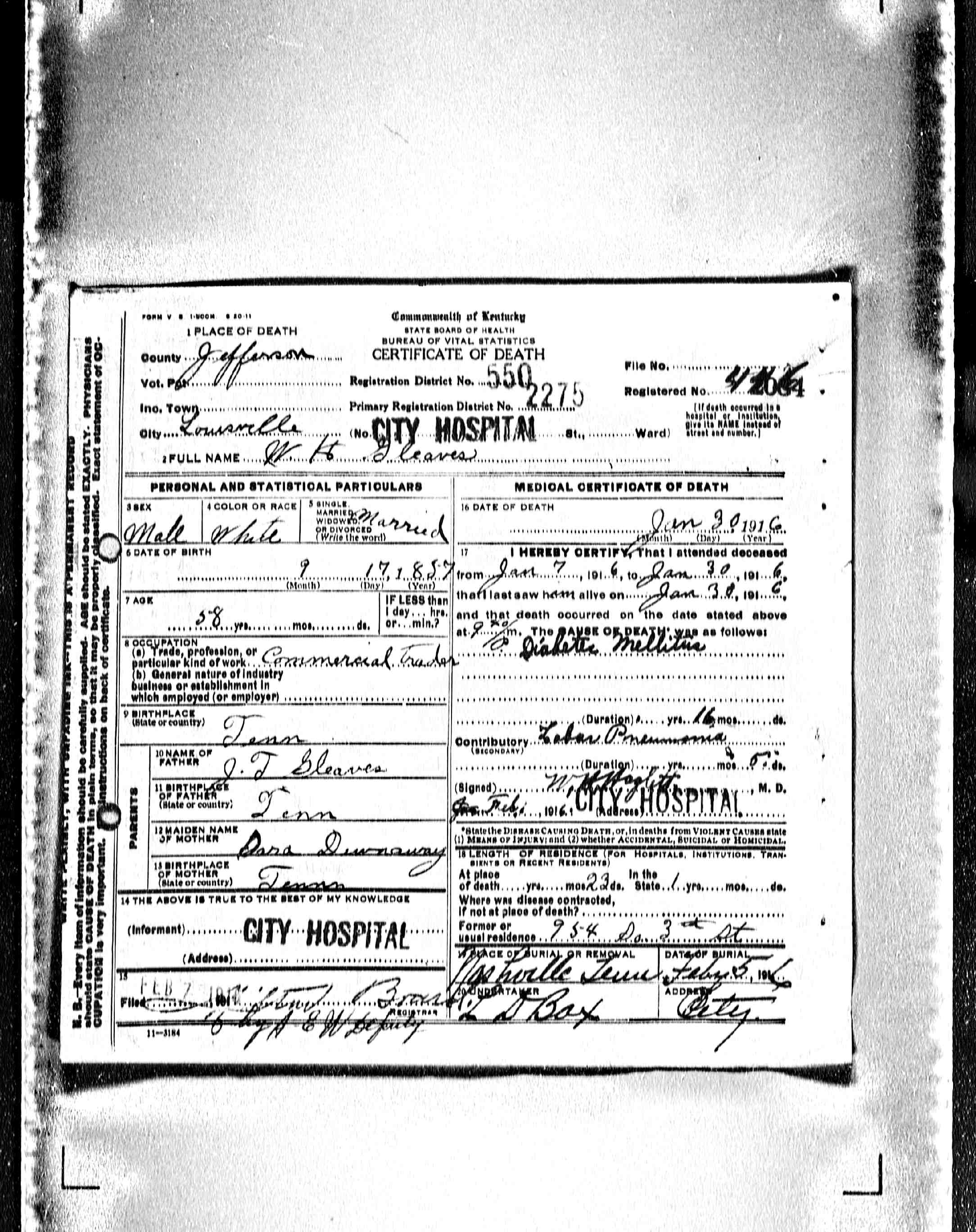 Death Certificates Gleaves Family