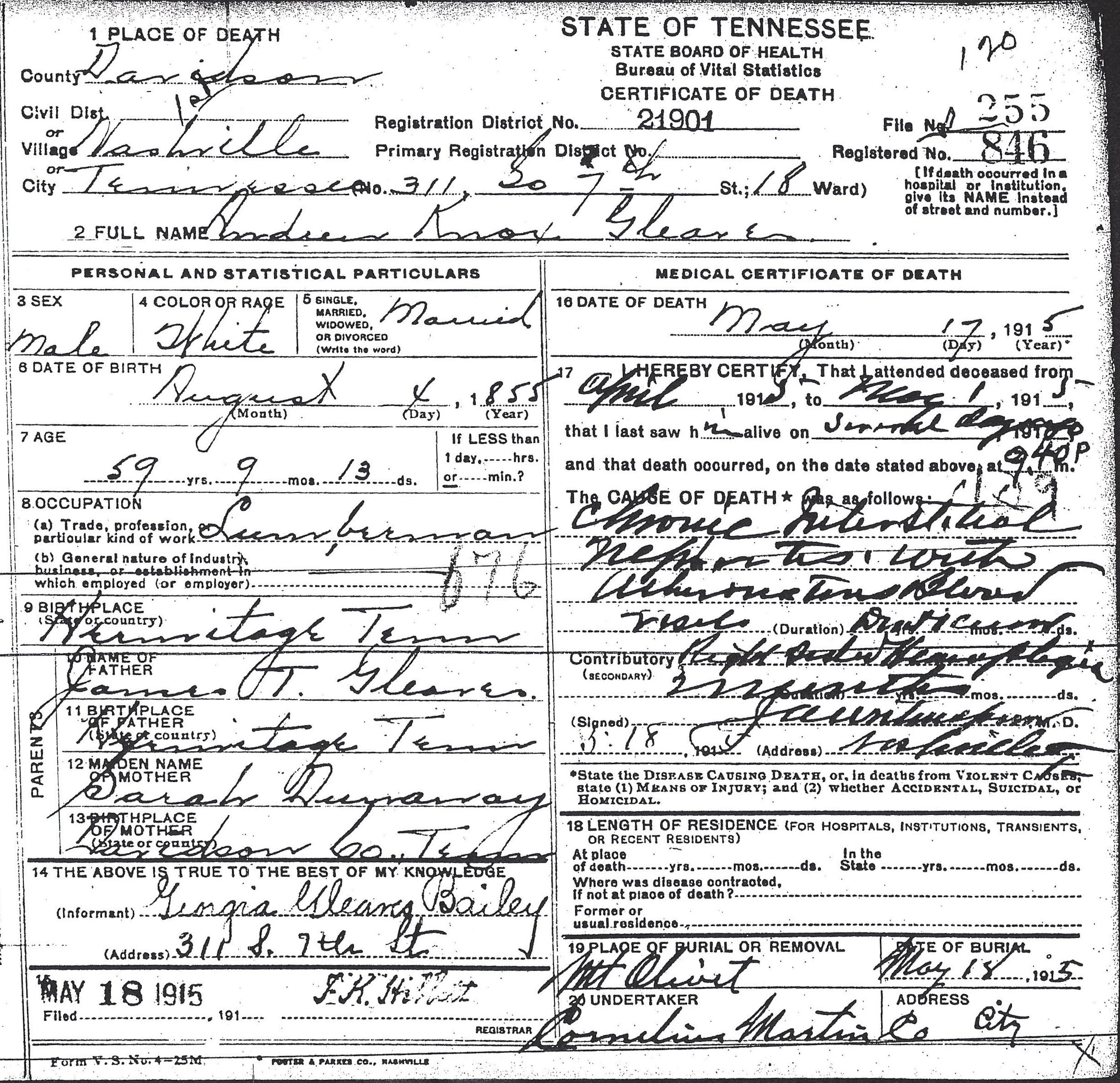 Some tennessee death certificates gleaves family 255 1betcityfo Image collections