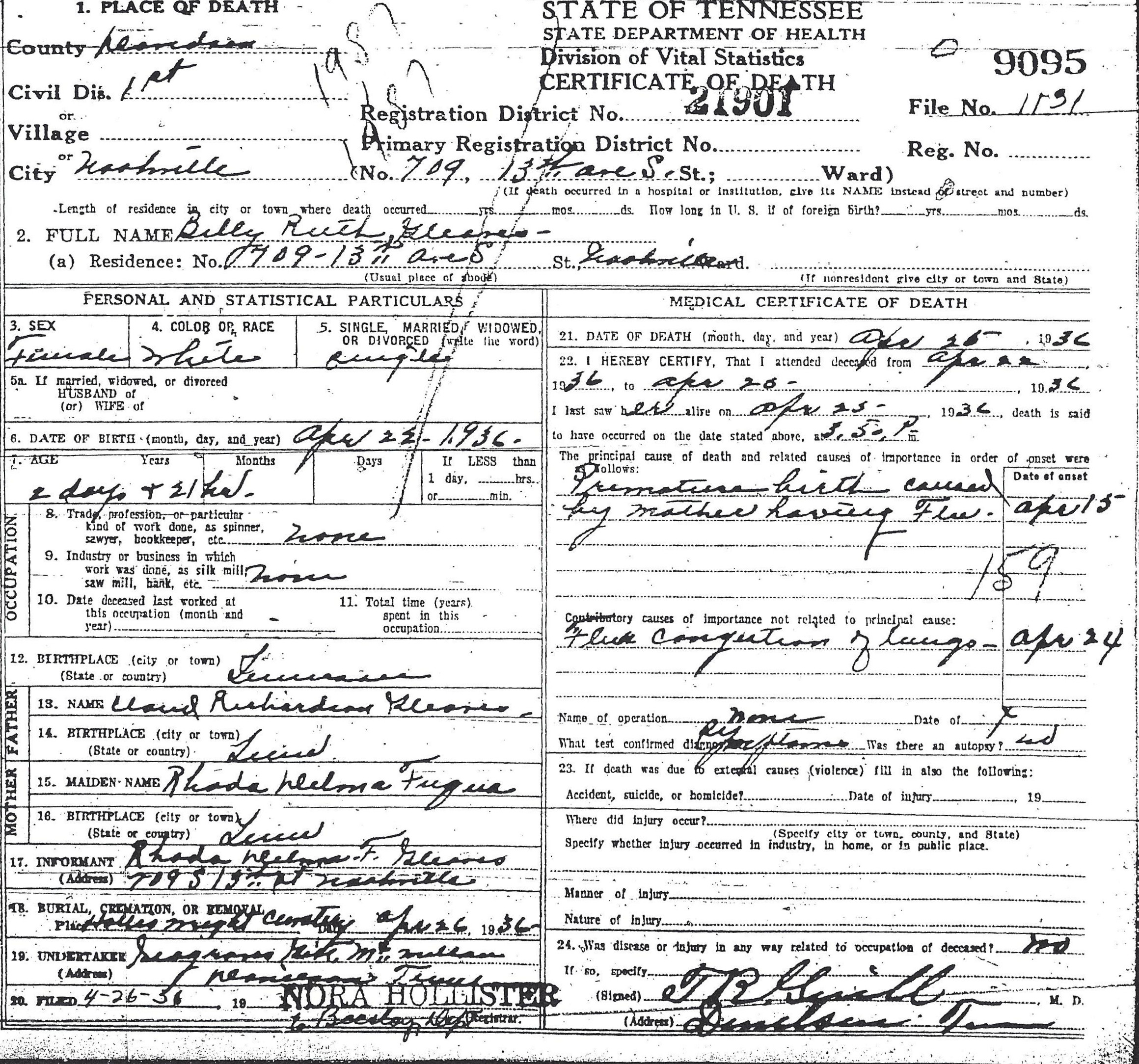Some tennessee death certificates gleaves family rhoda delma fuqua 709 13th ave s nashville davidson tennessee white premature birth hollis wright cemetery premature birth caused by mother having aiddatafo Gallery