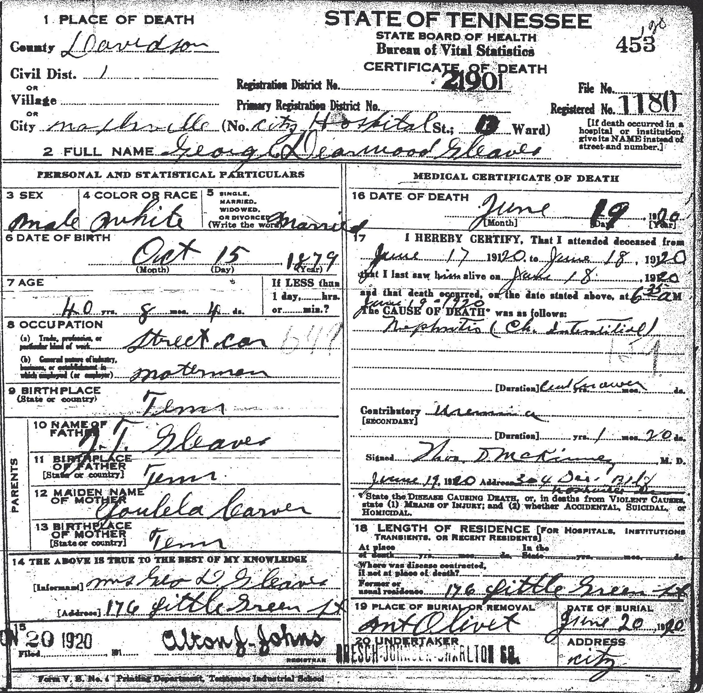 Some tennessee death certificates gleaves family 453 aiddatafo Gallery