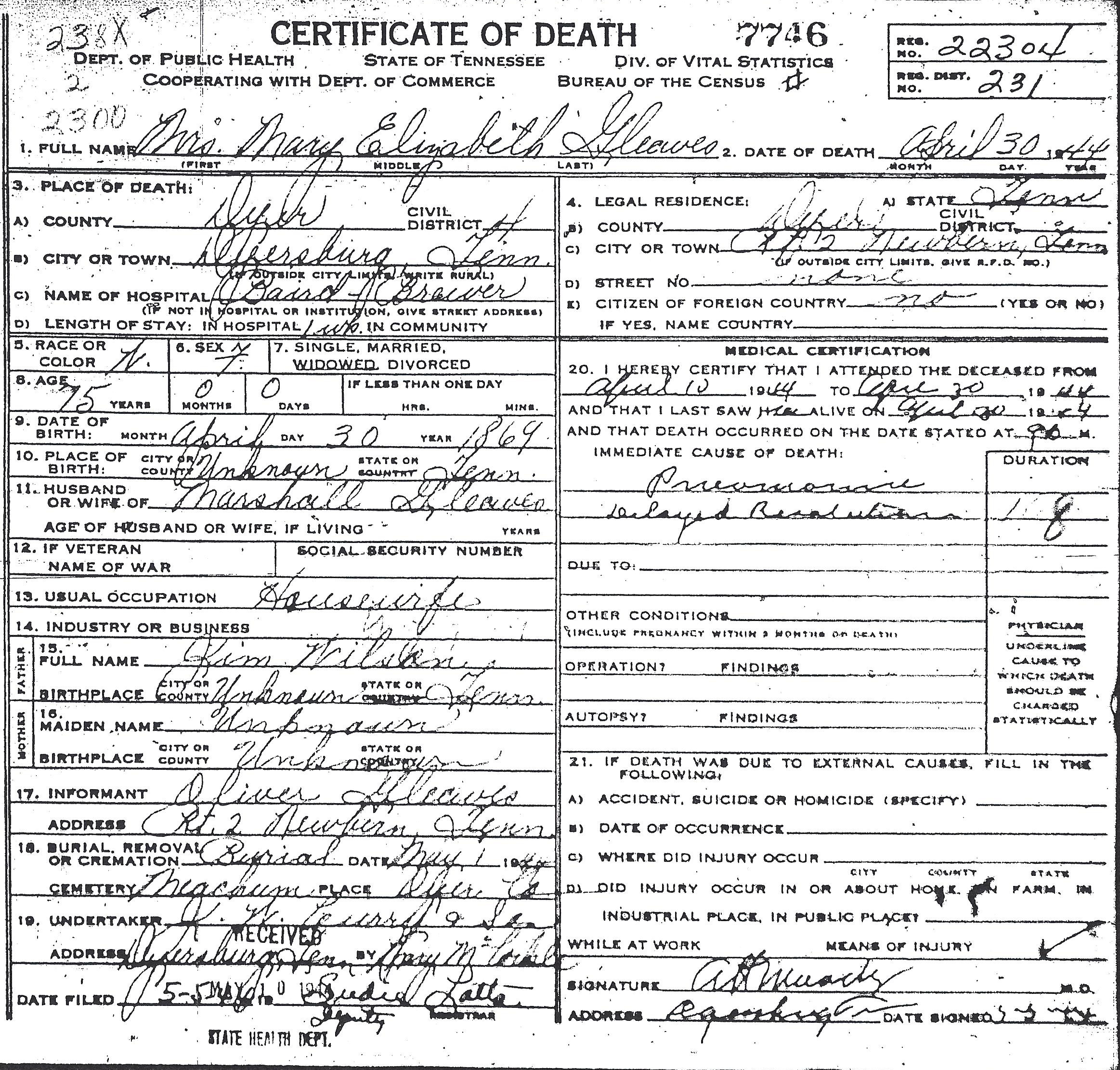 Some Tennessee Death Certificates Gleaves Family
